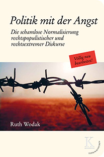 Ruth Wodak politics of Fear German Version Cover. A close up picture of a barbed wire fence.