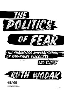 Cover Page of the politics of fear by Ruth Wodak. The title is in white letters over roughly painted black lines.