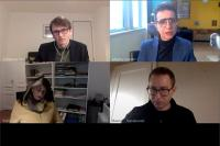 a screenshot of the four discussants on zoom